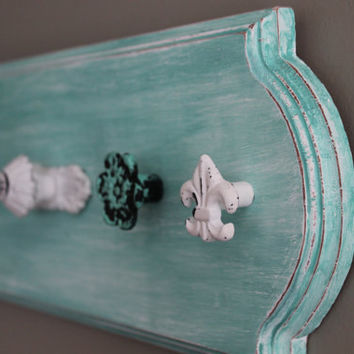Jewelry organizer, necklace holder, turquoise and white distressed