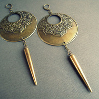 Lotus Flower Hoop Earrings - Aged Brass Gypsy Hoop Dangle Earrings Spike Dangles Tribal Gypsy Festival Ornate