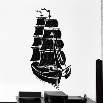 Wall Vinyl Decal Pirate Ship Yacht Ocean Marine Black Sail Home Decor Unique Gift z4195