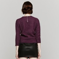 Carven Angora Knit Sweater In Burgundy