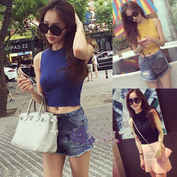 Ladies Summer Style Chic Vest Top Ladies Slim Tops Solid Color Round Neck Sleeveless Knitted Fitness Crop Tank Top 5 Colors