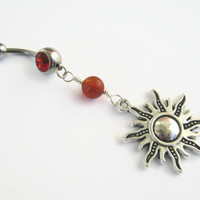 Carnelian Sun Belly Ring, Fiery Carnelian Belly Button Ring, Gemstone Belly Piercing, Sunshine, Nature Body Jewelry