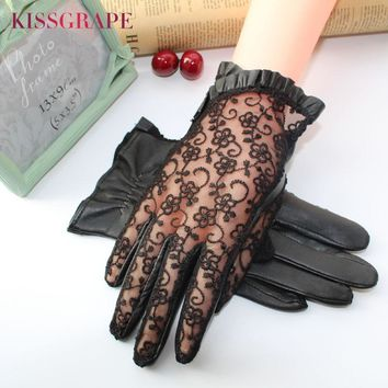 Elegant women gloves genuine leather sheepskin lace gloves women driving lace leather gloves ladies party mittens high quality
