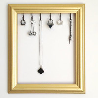Gold Bronze Jewelry Display Organizer Frame Upcycled and Repurposed