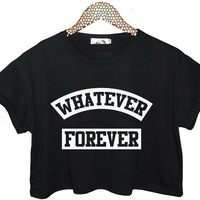 WHATEVER FOREVER Letters Print Women Summer Crop Top Short t shirt Sexy Slim Funny Top Tee Hipster Black White ZT203-9