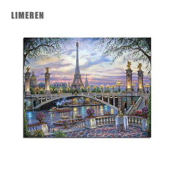 Scenic Bridge Oil Painting By Numbers On Canvas Unframed DIY Paris Eiffel Tower Coloring Wall Arts Pictures Modular Nordic Decor