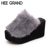 HEE GRAND Beach Fur Slippers 2016 Wedges Sandals Casual Platform Shoes Woman Creepers Winter Flip Flops Slip On Flats XWT541