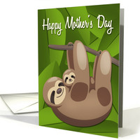 Sloth Mother with Baby and Jungle Leaves for Mom on Mother's Day card