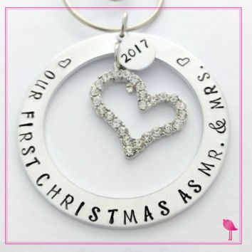 "#""Our First Christmas as Mr. & Mrs"" Hand Stamped Ornament by Bling Chicks"