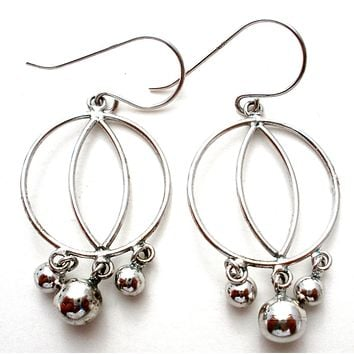 Sterling Silver Dangle Bead Earrings