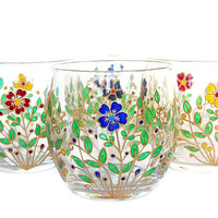 Set of 4 Flowers Glasses Everyday Drinking Glasses Water Glasses Flowers Glassware Drinkware flower Glass Holiday Glassware