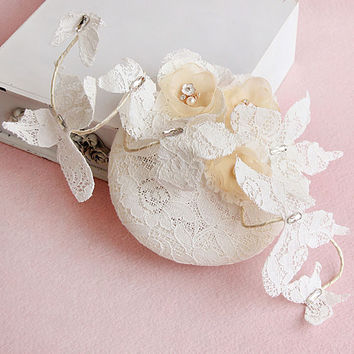 Elegant White Lace Bridal Hats 2016 with Beading Wedding Hats Veils for Brides Vintage Butterfly Wedding Accessories H2