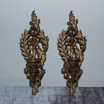 Gold Burwood Candlestick Wall Sconces - Candlestick holder, gold decor, ornate decor, French Provincial decor
