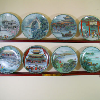 China: Scenes from the Summer Palace Collector Plates & Display Shelf Bradford Exchange Complete Set of Chinese Porcelain Plates Series of 8