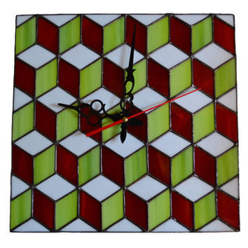 Wall Clock 3d cube red, lime green, white - Modern Wall Clock geometric design - Geometric decor - Mod - Unique Wall Clock – Stained Glass
