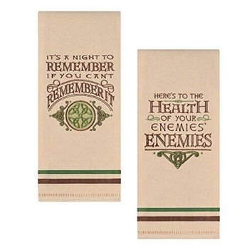 Celtic Dish Towels with Witty Sayings - Set of 2