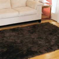 4' x 6'  Premium DArk Brown fur rug non-slip washable great for Den Living room easy carefree Free Shipping