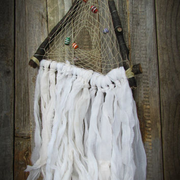 Rustic Wooden Dreamcatcher~Ceramic Beads~Branch Weaving Wall Art~Sari Silk Chiffon~Handcrafted Triangle Dreamcatcher~Home Decor~Mdogstudios~