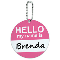 Brenda Hello My Name Is Round ID Card Luggage Tag