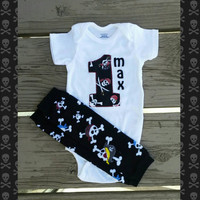 First Birthday Boy Pirate Onesuit - Personalized - Pirates - Cake Smash Outfit - Matey - Skulls- Comics