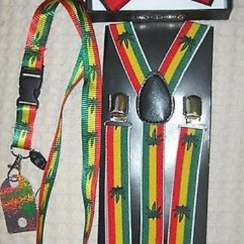 Rasta Stripes Bow Tie,Rasta Stripes Marijuana MJ Suspenders & Rasta MJ Lanyard