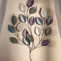 Wall Sculpture Art Leaves Metal Nature Purple Silver Large Home Decor Accent NEW