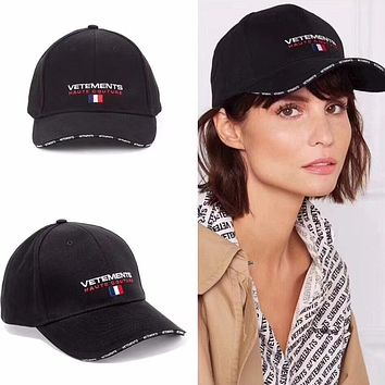 """Vetements"" Unisex Sports Fashion Letter Embroidery Flat Cap Baseball Cap Couple Casual Sun Hat"