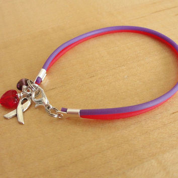Purple and Red Awareness Bracelet - Rubber