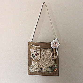 Burlap Shabby Chic Bag | Garden Party Purse | Farmer's Market Eco Tote