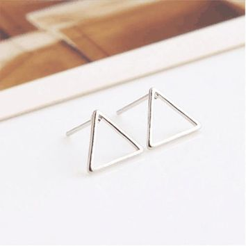 2017 Promotion Brincos Punk Style Simplehollow Triangle Earrings Simple Geometric Shaped Ear Stud Fine Jewelry Free Shipping