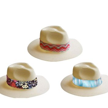 Women's Panama Hats with Printed Band - CASE OF 48