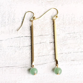 Green Earrings ... Vintage Brass Stick with Grass Green Aqua Bead Chalcedon