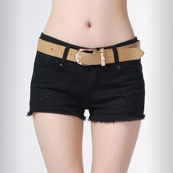 Sexy Solid Denim Shorts Low Waist Womens Hole Hot Cut-Off Jeans Short Pants