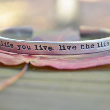 Love the Life You Live.  Live the Life You Love - Positive - Bob Marley  - Inspirational  - Looks Like Silver - Under 25- Stocking Stuffer