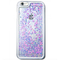 Blue Glitter & Confetti Hearts Waterfall iPhone Case