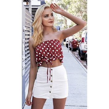New Limits Red White Polka Dot Pattern Strapless Smocked Crop Tube Top