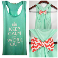 Keep Calm and Work Out Tank Top, Mint Tank Top, Bow Tank Top, Workout Tank Top, Crossfit Tank Top, Gym Tank