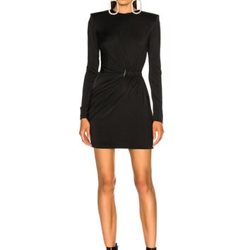Mugler Fluid Jersey Long Sleeve Mini Dress in Black | FWRD