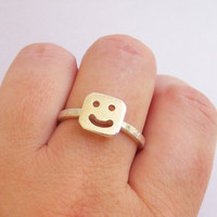 Smile Cut Out Button Ring Sterling Silver by LiuRokSilver