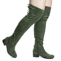 Yah Khaki Green By Soda, OTK Over Knee Slouch Boots w Back Lace & Block Stacked Heel