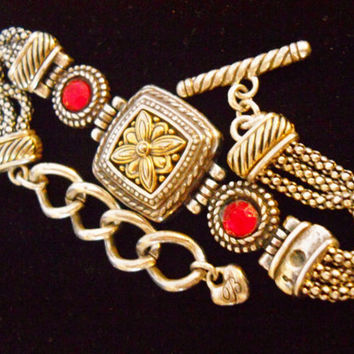 Vintage Brighton Bracelet Red Glass Hinged Toggle Two-Tone