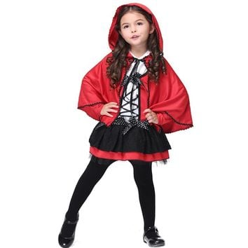 Little Red Tiding Hood Kids Girls Costume Fancy Dress Cosplay Clothing Children Halloween Costume Party Dress with Cape S-XL