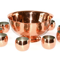 Copper Punch Bowl Punch Bowl Set Copper Cups Copper Roly Poly Cups Copper Barware Set Cocktails Copper Craft Guild Wedding Gift