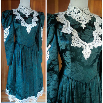 Vintage Jessica McClintock Dress Steampunk 80s Victorian Revival High Collar Brocade Dress Romantic Lace Cutout 14 XS 32B