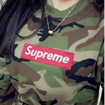 SUPREME camouflage men and women with a hoodie collar shirt pullover-1