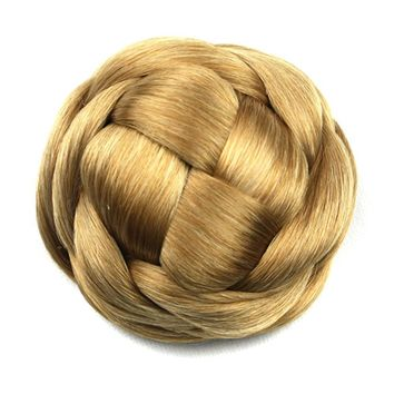 Soowee 6 Colors Blonde Synthetic Hair Braided Chignon Knitted Hair Bun Donut Roller Hairpieces Headwear Accessories for Women