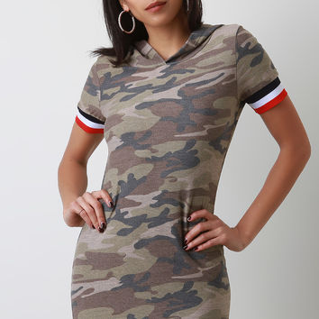 Camouflage Striped Trim Hoodie Mini Dress | UrbanOG