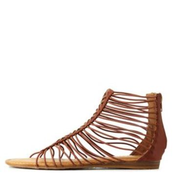 Tan Bamboo Laser-Cut Caged Gladiator Sandals