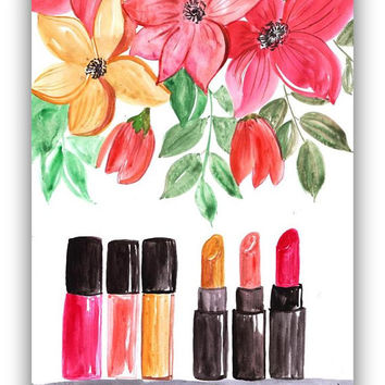 coco chanel, Lipstick pipe, floral fine art, printable deco, bathroom print, watercolor painting, fashion beauty, wall girl decor, makeup