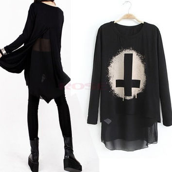 New Autumn Women Long Sleeve European Style Cotton+Chiffon Punk Printing Top T-shirt Dress SV006406|27701 = 1956724740